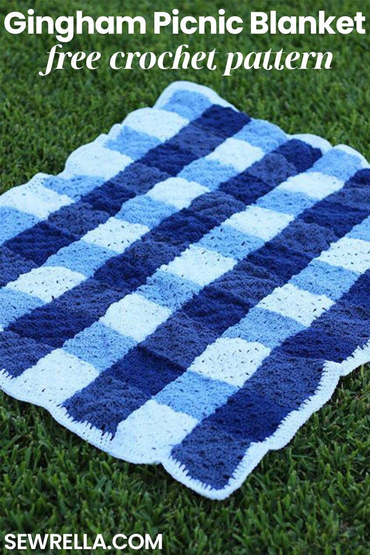 Crochet Gingham Picnic Blanket Sewrella
