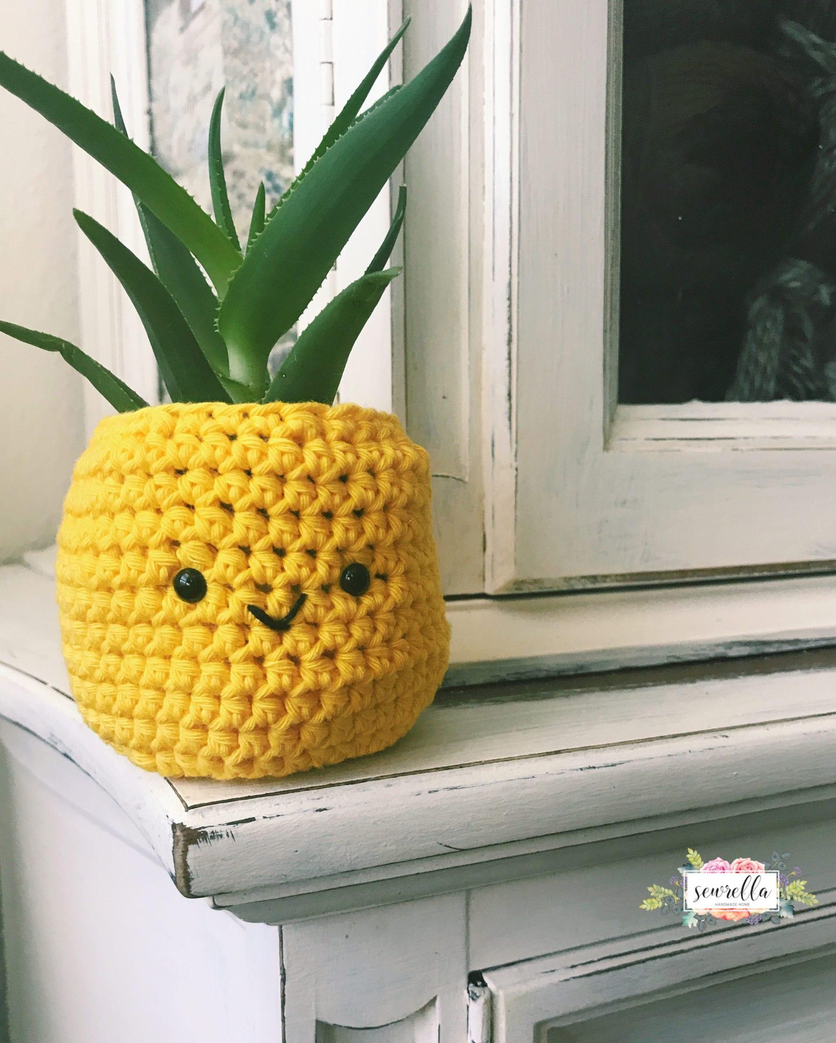 Crochet Pineapple Planter Sewrella