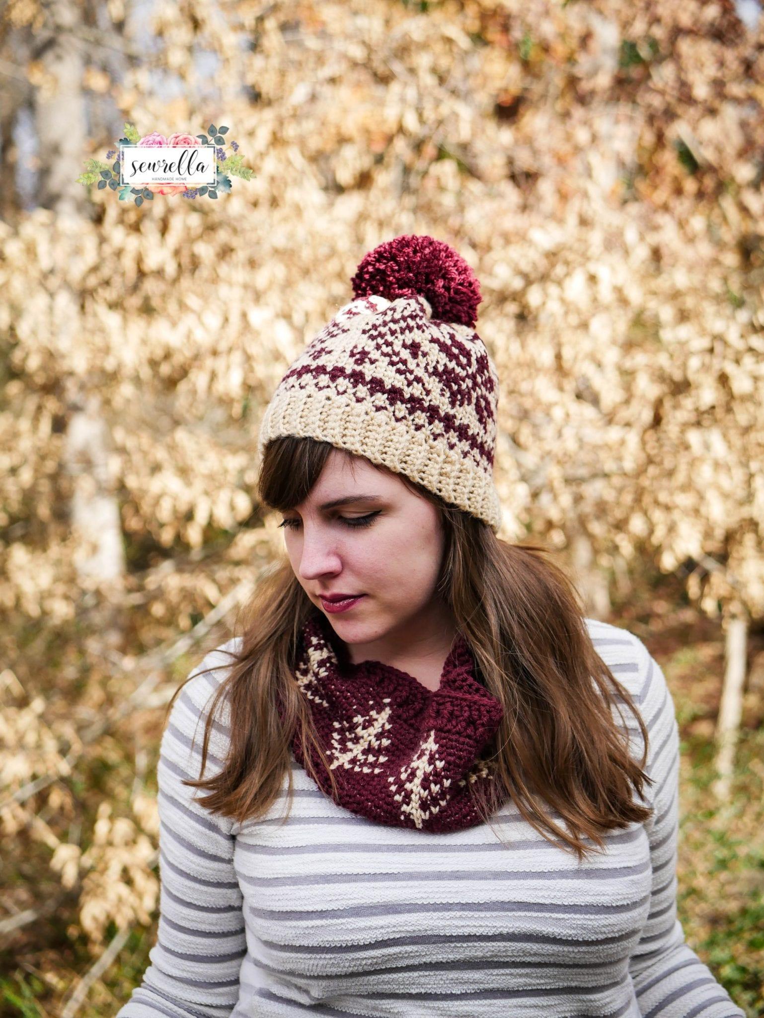 Faux Knit Fair Isle Crochet Toque & Cowl
