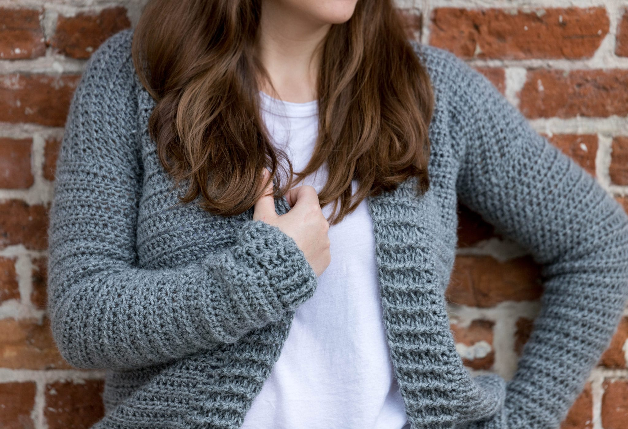 Chunky ribbing detail on this knit-look crochet cardigan free pattern.