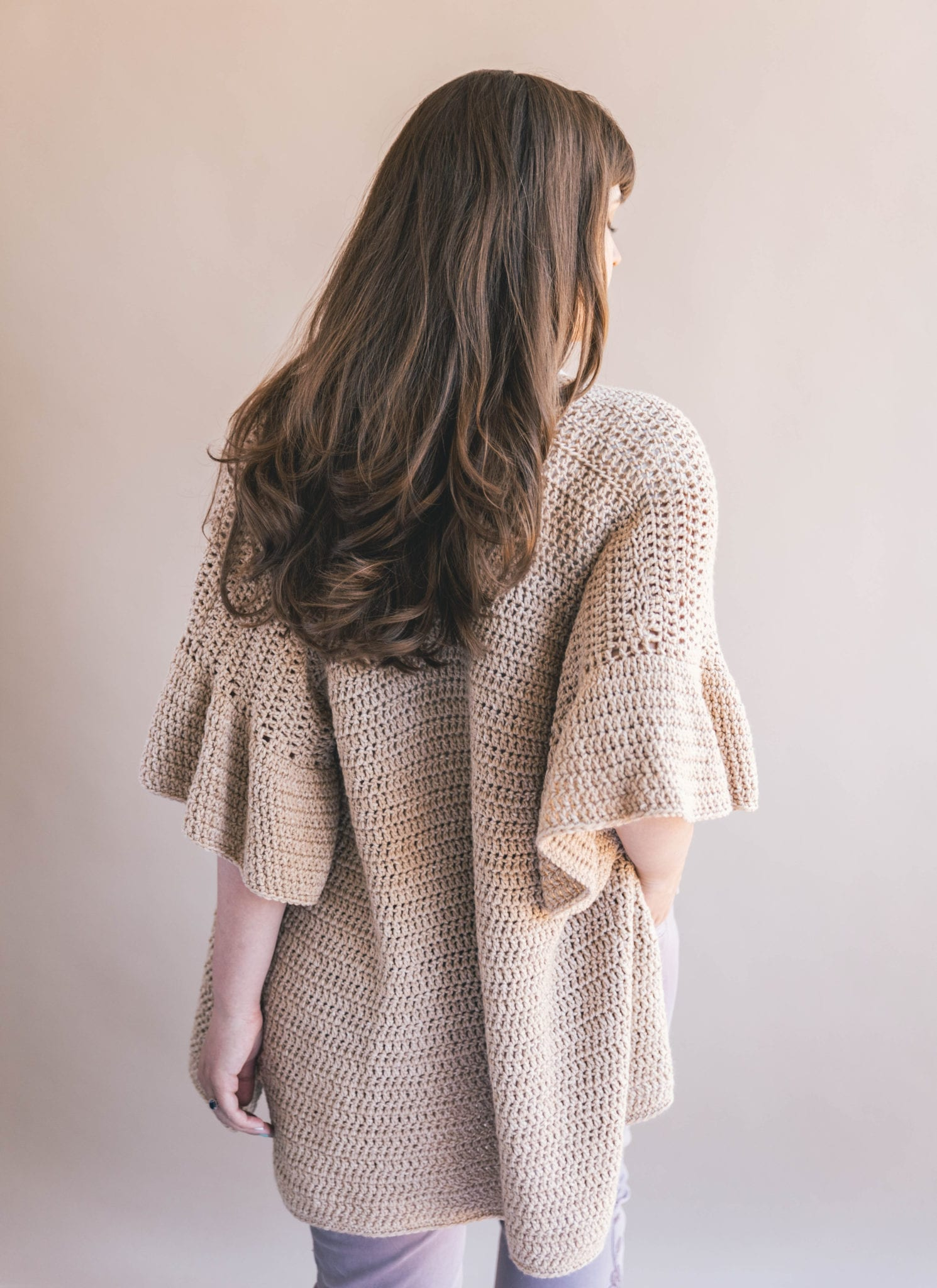 Crochet Ruffle Sleeve Cardigan.