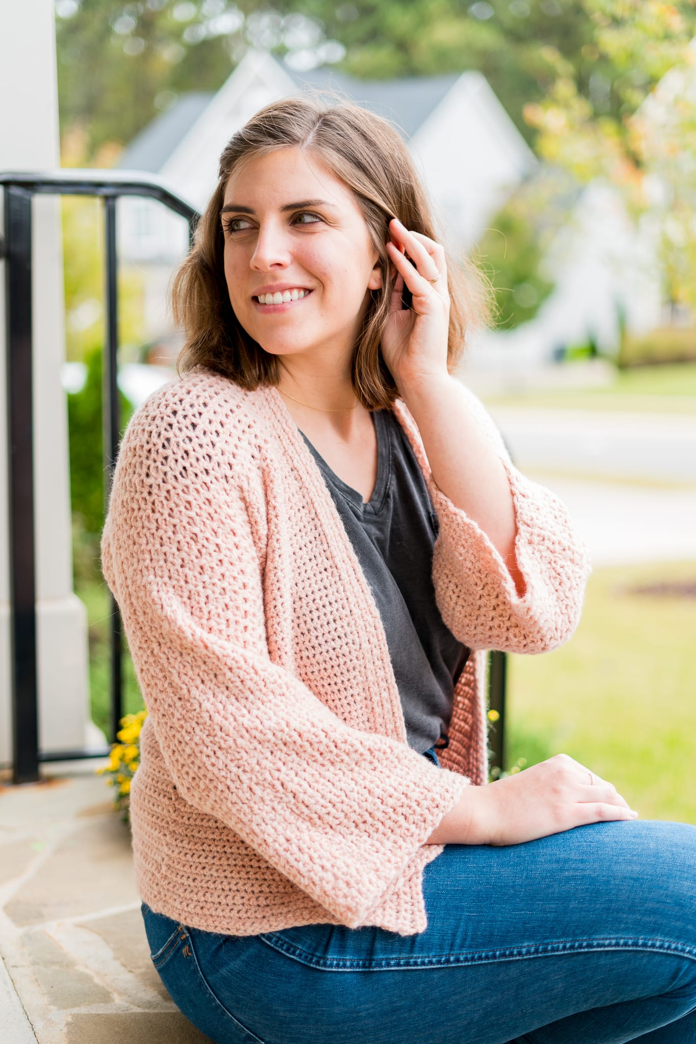 Easy Crochet Cardigan with lightweight fluffy yarn and T shaped panel construction.