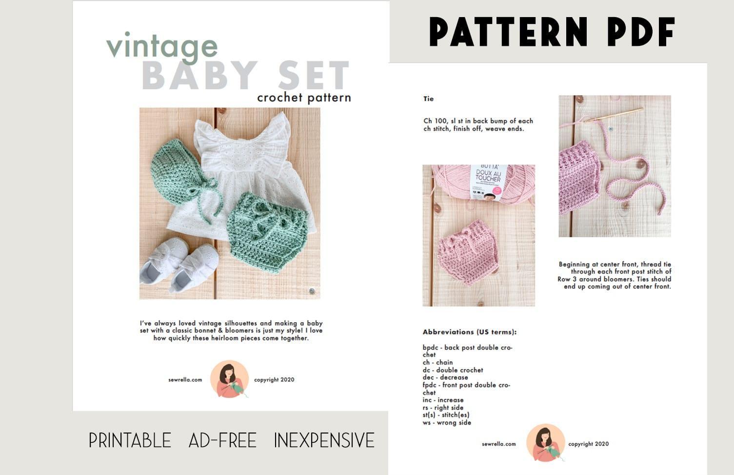 pattern PDF ad vintage baby set crochet pattern