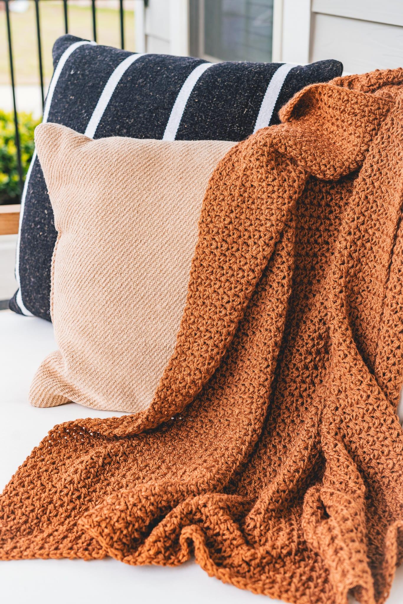 Throw Blanket Bed Cover Cozy Blanket Wool Throw Crochet Blanket Chunky Wool Blanket Chunky Blanket
