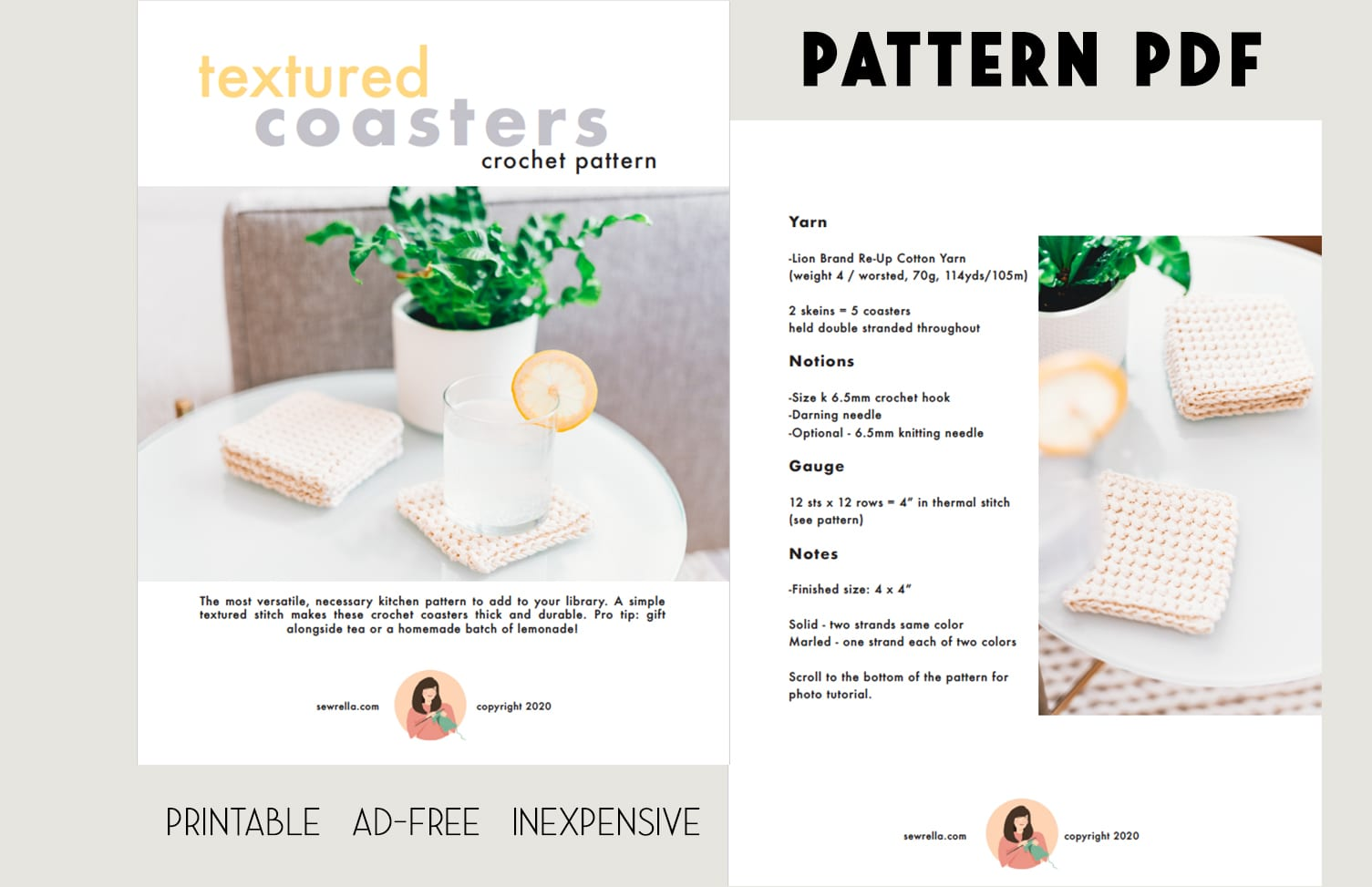 inexpensive pdf copy of textured crochet coasters