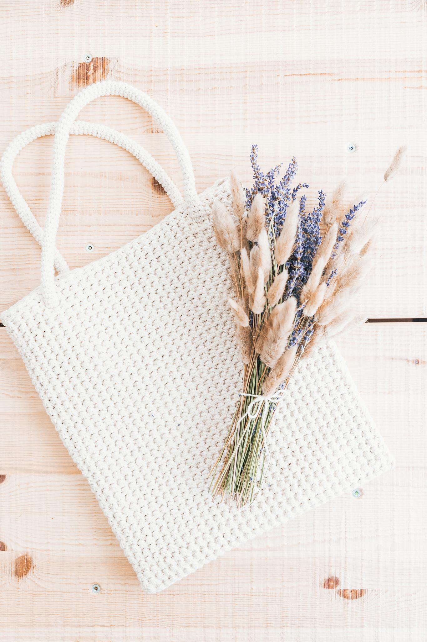 Bolso tote crochet con flores